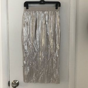 Silver pleated pencil skirt
